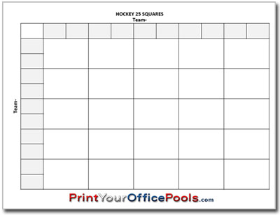 Hockey 25 Squares Pool